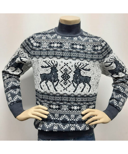 Мужской теплый свитер с оленями