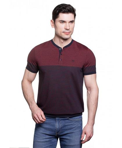 Caporicco бордовая футболка на кнопках