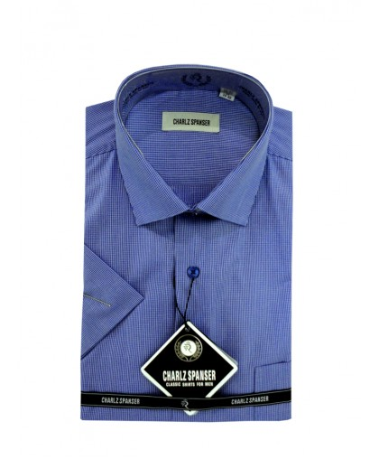 Синяя сорочка в клеточку