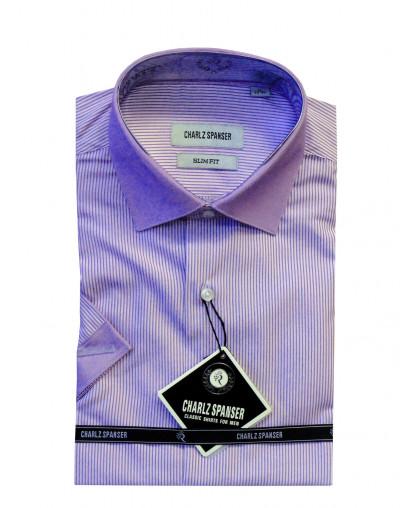 Сиреневая рубашка с контрастным воротом