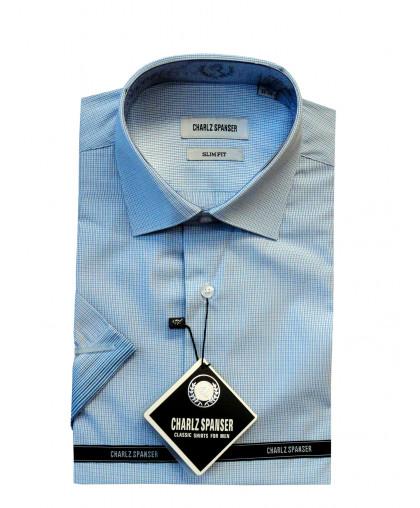 Голубая рубашка в клетку Charlz Spanser