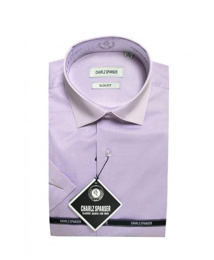 Сиреневая рубашка в тонкую полоску