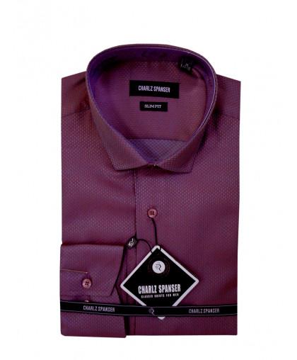 Бордовая жаккардовая рубашка
