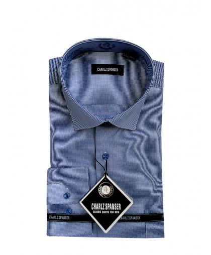 Мужская сорочка в синюю клеточку