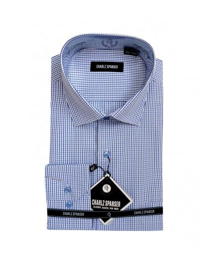 Мужская рубашка в синюю клеточку