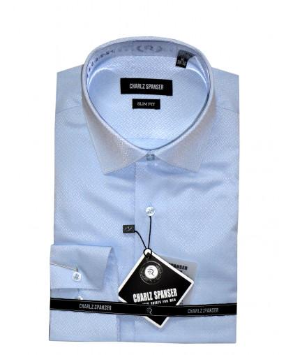 Голубая жаккардовая рубашка
