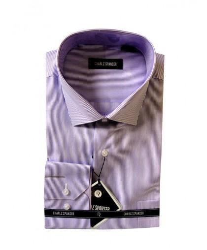 Мужская сорочка в сиреневую полоску