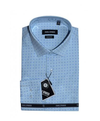 Голубая сорочка в ромбик