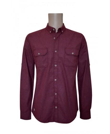Бордовая рубашка с двумя карманами