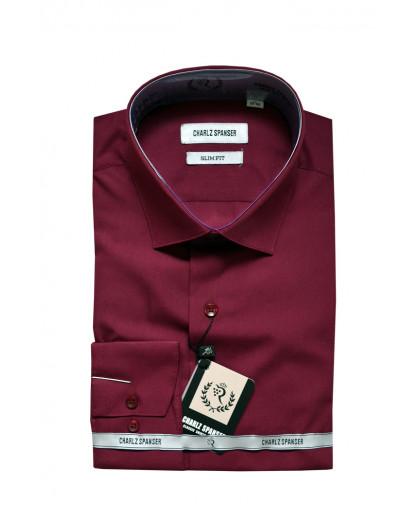 Бордовая однотонная рубашка
