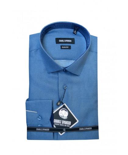 Голубая рубашка в мелкий узор