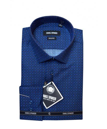 Синяя рубашка в крапинку