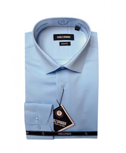Голубая жаккардовая мужская сорочка