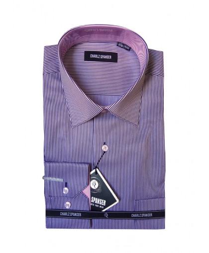 Мужская рубашка в сиреневую полоску